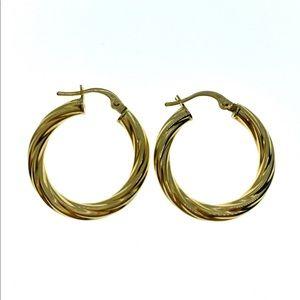 18kt yellow gold italian hoop earrings
